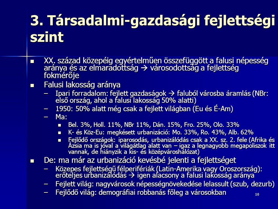 10 3. Társadalmi-gazdasági fejlettségi szint XX.