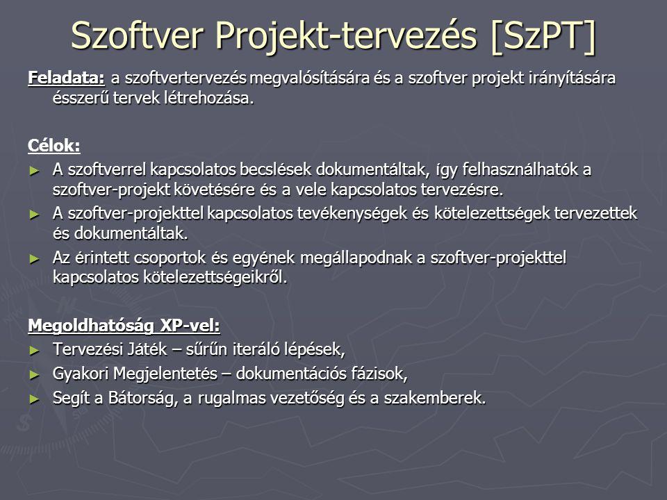 Szoftver Projekt-tervezés [SzPT] Feladata: a szoftvertervezés megvalósítására és a szoftver projekt irányítására ésszerű tervek létrehozása. Célok: ►