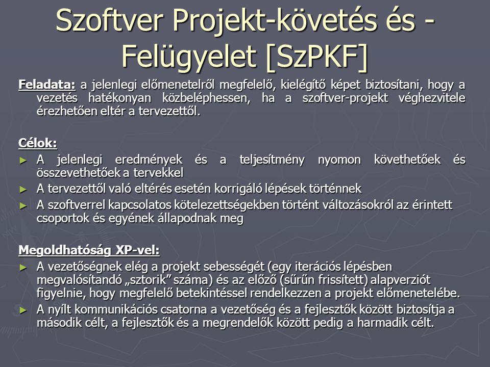 Szoftver Projekt-követés és - Felügyelet [SzPKF] Feladata: a jelenlegi előmenetelről megfelelő, kielégítő képet biztosítani, hogy a vezetés hatékonyan