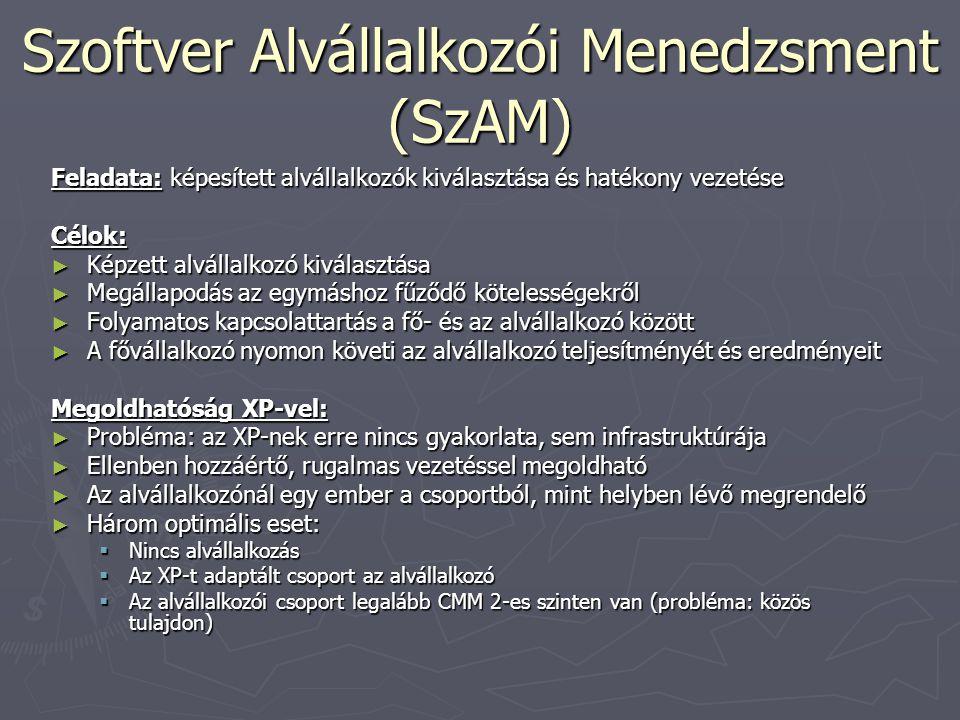 Szoftver Alvállalkozói Menedzsment (SzAM) Feladata: képesített alvállalkozók kiválasztása és hatékony vezetése Célok: ► Képzett alvállalkozó kiválaszt