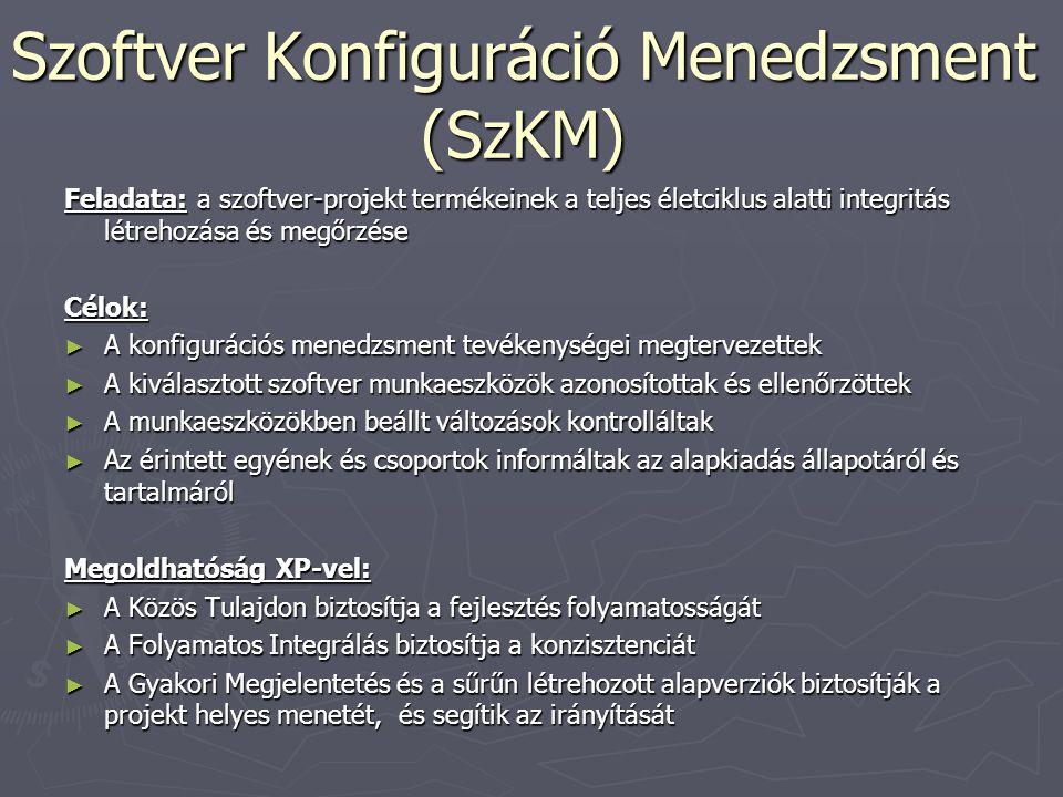 Szoftver Konfiguráció Menedzsment (SzKM) Feladata: a szoftver-projekt termékeinek a teljes életciklus alatti integritás létrehozása és megőrzése Célok