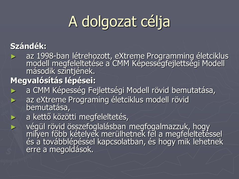 A dolgozat célja Szándék: ► az 1998-ban létrehozott, eXtreme Programming életciklus modell megfeleltetése a CMM Képességfejlettségi Modell második szi