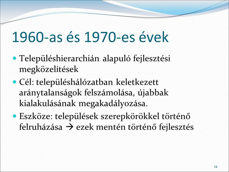 14 1960-as és 1970-es évek Településhierarchián alapuló fejlesztési megközelítések Cél: településhálózatban keletkezett aránytalanságok felszámolása, újabbak kialakulásának megakadályozása.
