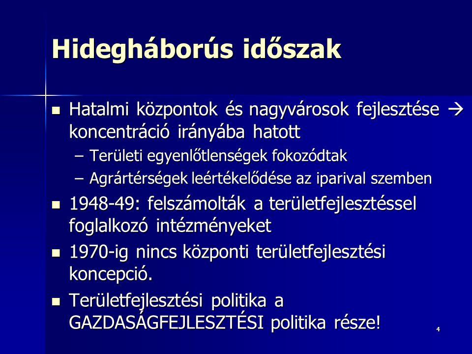 35 A gazdaságilag elmaradottnak minősített települések elhelyezkedése Magyarországon, 1986 Forrás: Faluvégi 1995