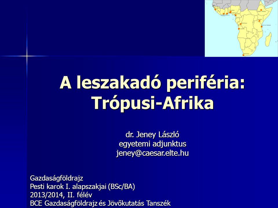 222 Trópusi Afrika fogalma Trópusi-Afrika egyéb elnevezései – –Fekete-Afrika: szinonim fogalom (de sértő) – –Szubszaharai Afrika (Subsaharan Africa) – –Egyenlítői Afrika: kisebb (Dél-Afrika nélkül) Jellemzői – –Szahara elválasztó szerepe – –Negrid lakosság többsége – –Inkább keresztény (nem mindenhol) Északi határa vitatott: – –Mauritániától (Ny) Szudánig (K) 17 mó km 2 (V11%) 760 mó fő (V11%) Részei: K-, D-, Köz- és Ny-Afrika