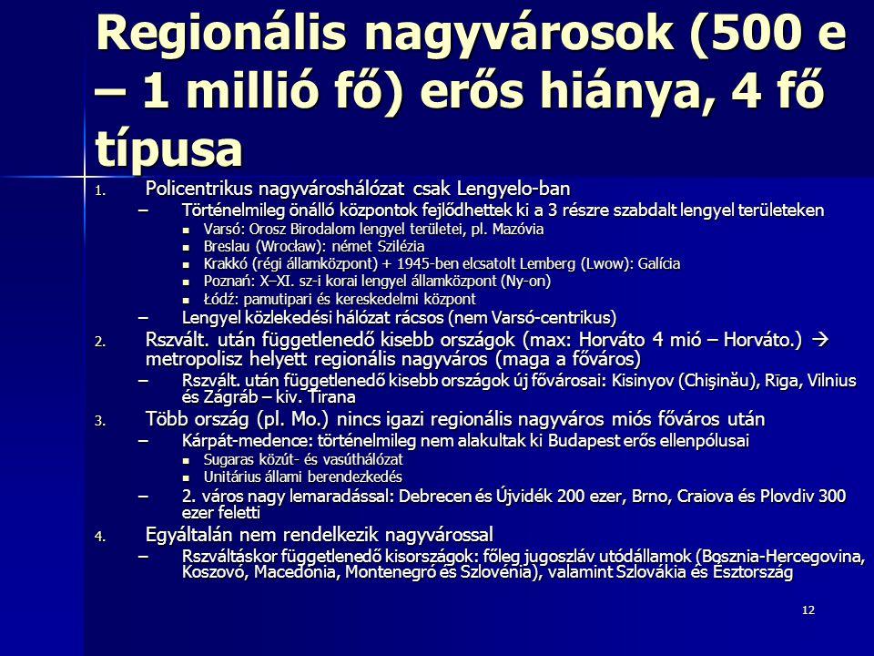12 Regionális nagyvárosok (500 e – 1 millió fő) erős hiánya, 4 fő típusa 1. Policentrikus nagyvároshálózat csak Lengyelo-ban –Történelmileg önálló köz