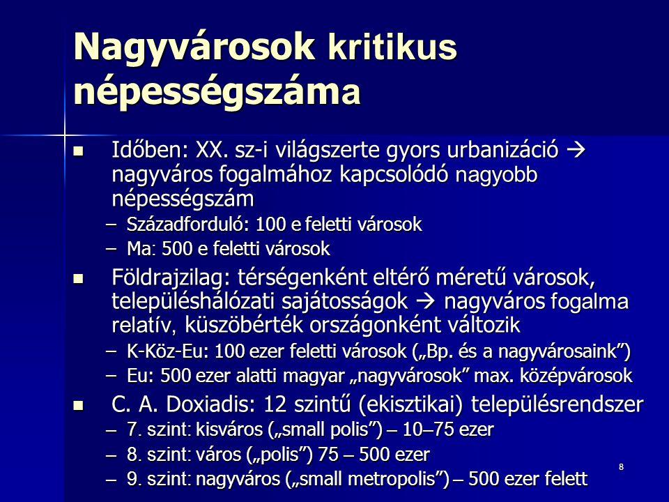 9 Nagyvároslakók alacsony aránya Köztes-Eu-ban 10 mó feletti megavárosok (megapoliszok, óriásvárosok) elmaradása 10 mó feletti megavárosok (megapoliszok, óriásvárosok) elmaradása –Egész Eu - r a nem jellemző (csak Isztambul és Moszkva): nagyvárosok növekedése lelassult, csökkent (szub- és dezurbanizáció) –Fejlődő országok: XX.
