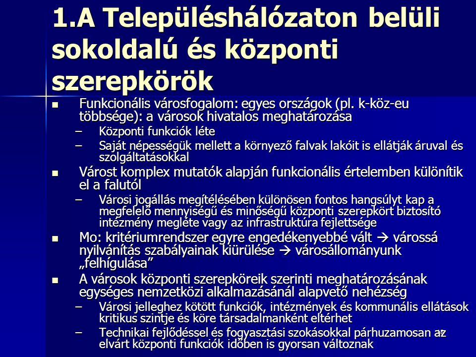 18 1.A Településhálózaton belüli sokoldalú és központi szerepkörök Funkcionális városfogalom: egyes országok (pl. k-köz-eu többsége): a városok hivata