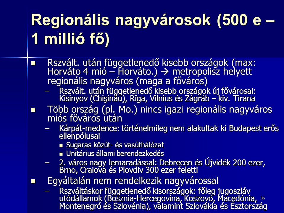 36 Regionális nagyvárosok (500 e – 1 millió fő) Rszvált. után függetlenedő kisebb országok (max: Horváto 4 mió – Horváto.)  metropolisz helyett regio