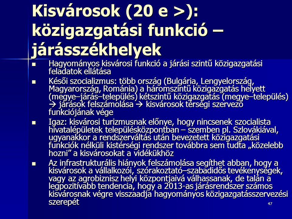 47 Kisvárosok (20 e >): közigazgatási funkció – járásszékhelyek Hagyományos kisvárosi funkció a járási szintű közigazgatási feladatok ellátása Hagyományos kisvárosi funkció a járási szintű közigazgatási feladatok ellátása Késői szocializmus: több ország (Bulgária, Lengyelország, Magyarország, Románia) a háromszintű közigazgatás helyett (megye–járás–település) kétszintű közigazgatás (megye–település)  járások felszámolása  kisvárosok térségi szervező funkciójának vége Késői szocializmus: több ország (Bulgária, Lengyelország, Magyarország, Románia) a háromszintű közigazgatás helyett (megye–járás–település) kétszintű közigazgatás (megye–település)  járások felszámolása  kisvárosok térségi szervező funkciójának vége Igaz: kisvárosi turizmusnak előnye, hogy nincsenek szocialista hivatalépületek településközpontban – szemben pl.