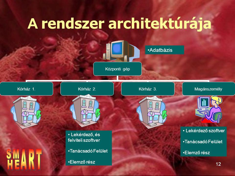 12 Központi gép Kórház 1.Kórház 2.Kórház 3.Magánszemély A rendszer architektúrája Lekérdező, és felviteli szoftver Tanácsadó Felület Elemző rész Lekérdező szoftver Tanácsadó Felület Elemző rész Adatbázis
