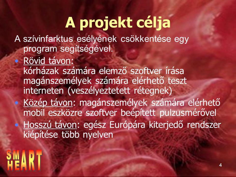 4 A projekt célja A szívinfarktus esélyének csökkentése egy program segítségével.