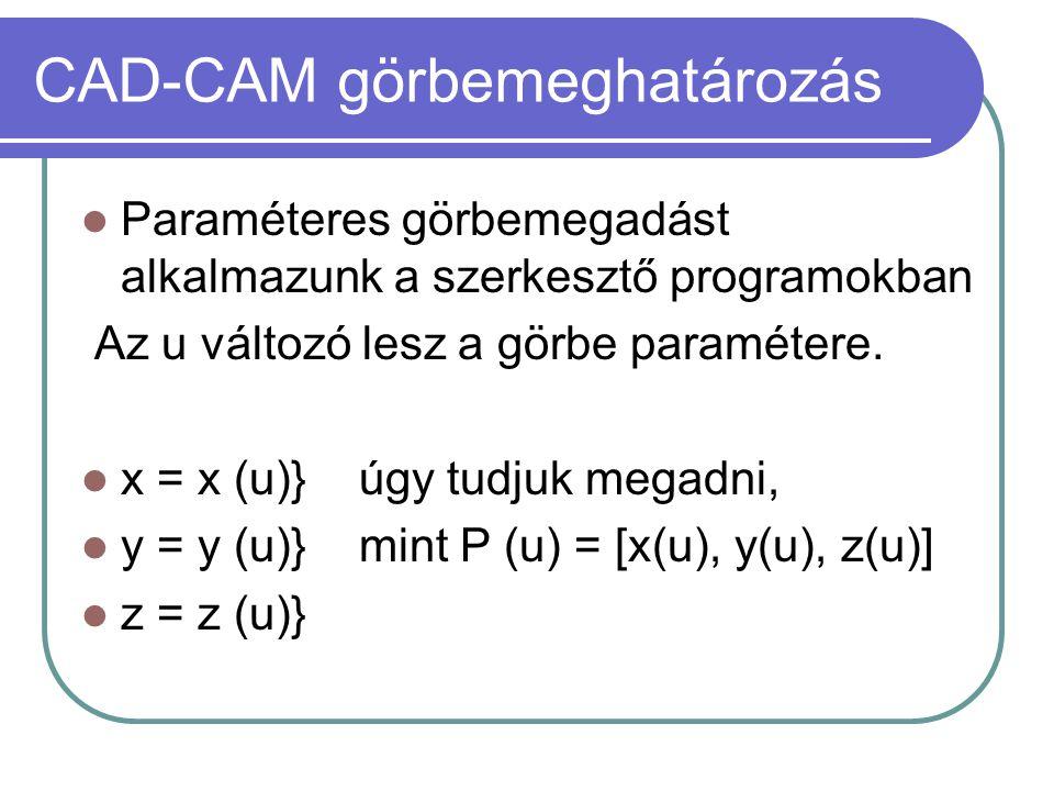CAD-CAM görbemeghatározás Paraméteres görbemegadást alkalmazunk a szerkesztő programokban Az u változó lesz a görbe paramétere.