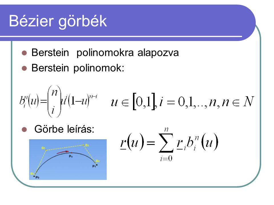 Bézier görbék Berstein polinomokra alapozva Berstein polinomok: Görbe leírás: