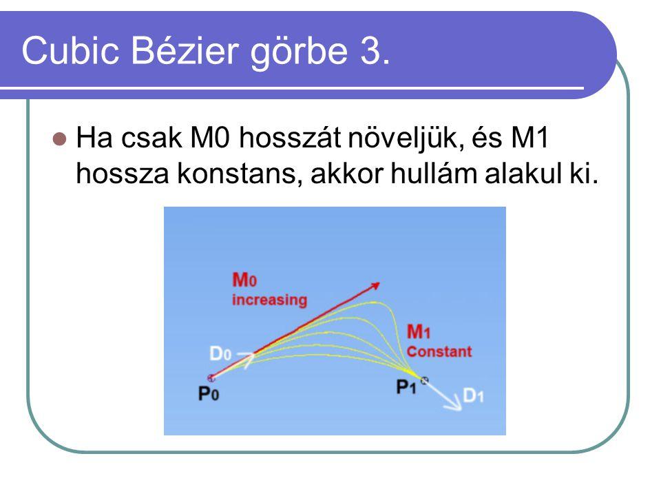 Cubic Bézier görbe 3. Ha csak M0 hosszát növeljük, és M1 hossza konstans, akkor hullám alakul ki.