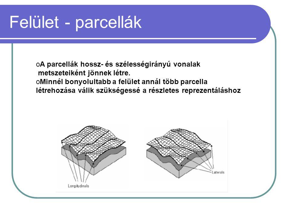 Felület - parcellák oA parcellák hossz- és szélességirányú vonalak metszeteiként jönnek létre.