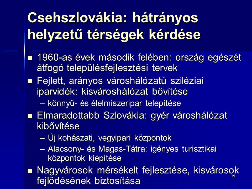 1414 Csehszlovákia: hátrányos helyzetű térségek kérdése 1960-as évek második felében: ország egészét átfogó településfejlesztési tervek 1960-as évek második felében: ország egészét átfogó településfejlesztési tervek Fejlett, arányos városhálózatú sziléziai iparvidék: kisvároshálózat bővítése Fejlett, arányos városhálózatú sziléziai iparvidék: kisvároshálózat bővítése –könnyű- és élelmiszeripar telepítése Elmaradottabb Szlovákia: gyér városhálózat kibővítése Elmaradottabb Szlovákia: gyér városhálózat kibővítése –Új kohászati, vegyipari központok –Alacsony- és Magas-Tátra: igényes turisztikai központok kiépítése Nagyvárosok mérsékelt fejlesztése, kisvárosok fejlődésének biztosítása Nagyvárosok mérsékelt fejlesztése, kisvárosok fejlődésének biztosítása