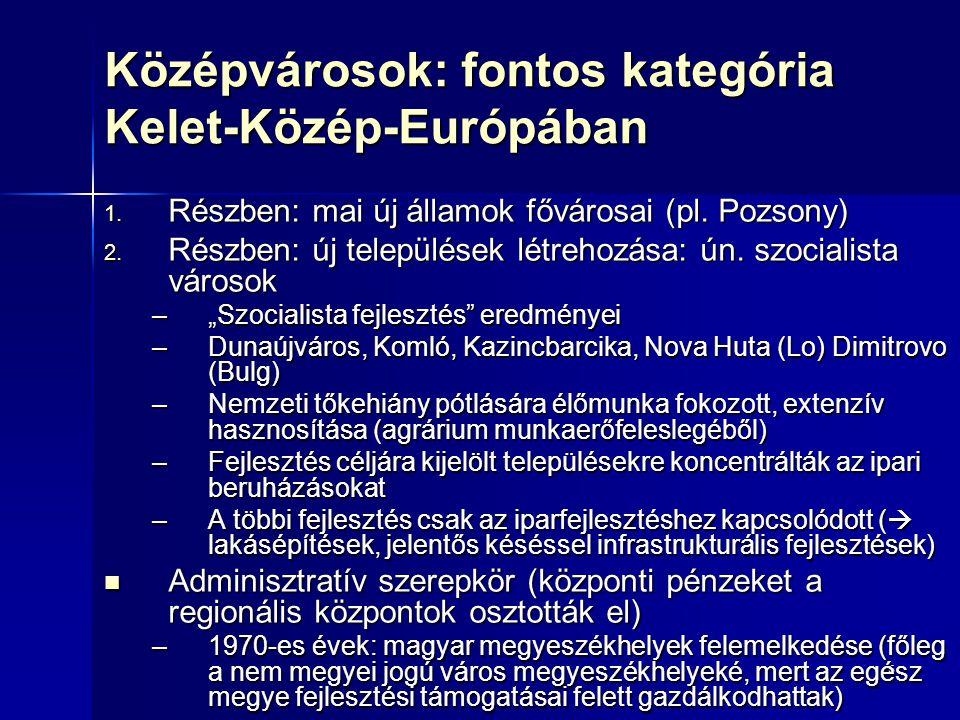 6 Középvárosok: fontos kategória Kelet-Közép-Európában  Részben: mai új államok fővárosai (pl.