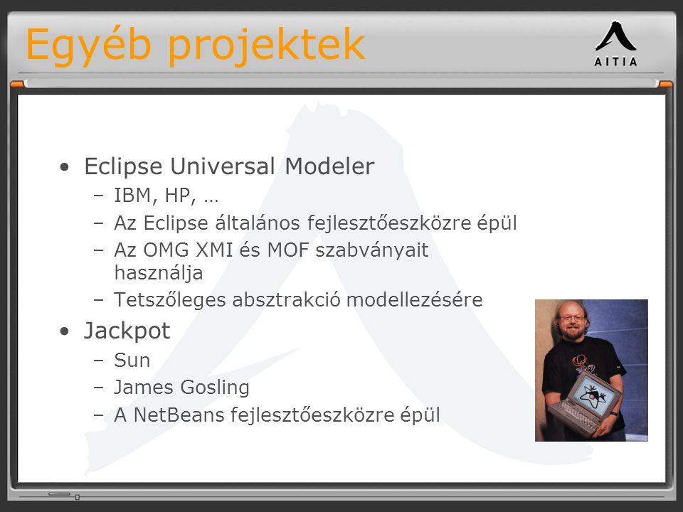 Egyéb projektek Eclipse Universal Modeler –IBM, HP, … –Az Eclipse általános fejlesztőeszközre épül –Az OMG XMI és MOF szabványait használja –Tetszőleges absztrakció modellezésére Jackpot –Sun –James Gosling –A NetBeans fejlesztőeszközre épül