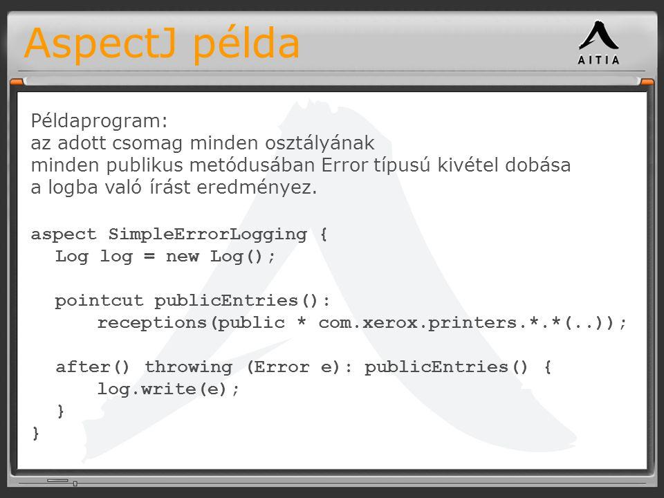 AspectJ példa aspect SimpleErrorLogging { Log log = new Log(); pointcut publicEntries(): receptions(public * com.xerox.printers.*.*(..)); after() throwing (Error e): publicEntries() { log.write(e); } Példaprogram: az adott csomag minden osztályának minden publikus metódusában Error típusú kivétel dobása a logba való írást eredményez.