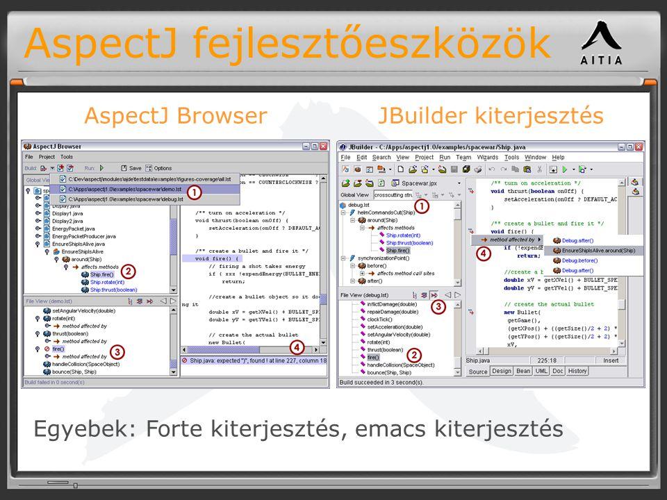 AspectJ fejlesztőeszközök AspectJ BrowserJBuilder kiterjesztés Egyebek: Forte kiterjesztés, emacs kiterjesztés