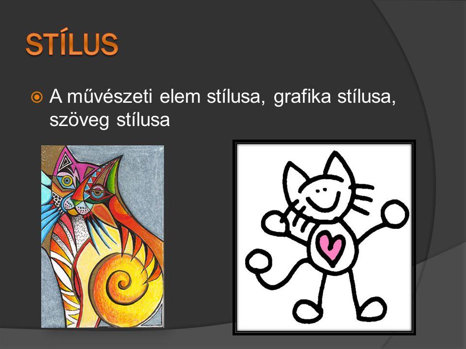  A művészeti elem stílusa, grafika stílusa, szöveg stílusa