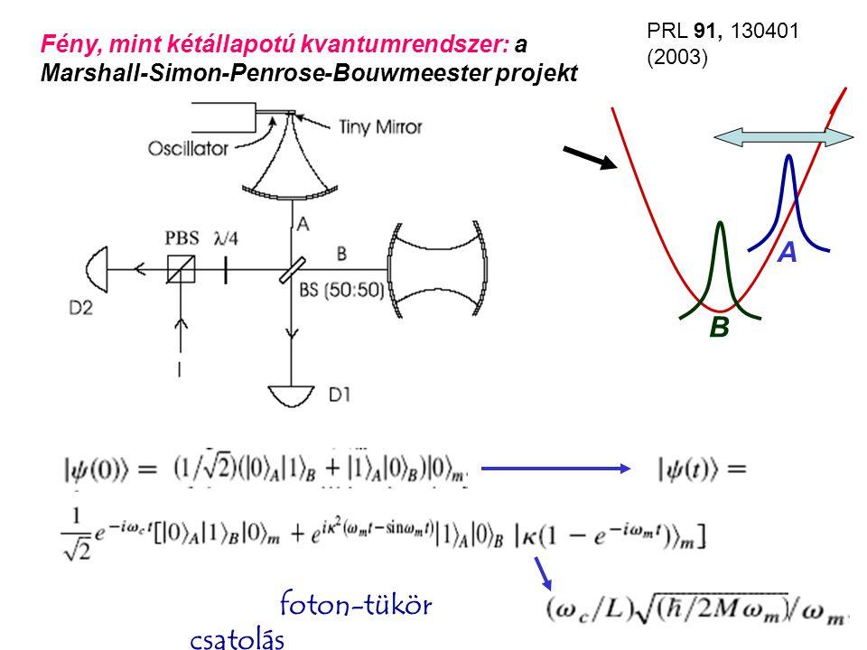 Hűtés alapállapotig lézer nélkül, héliumhígítós hűtővel 6 GHz, 0.25 mK O'Connell et al., Nature 464, 697 (2010 április 1 (!)) hűtés nem, de állapotmérés-preparálás Josephson fázis-qubittel Rezonáns energiaátadás a qubit és az oszcillátor között, a qubitről leolvasva Rossz hír: klasszikus oszcillátorral ugyanúgy megy… Al N Piezoelektromos csatolás!