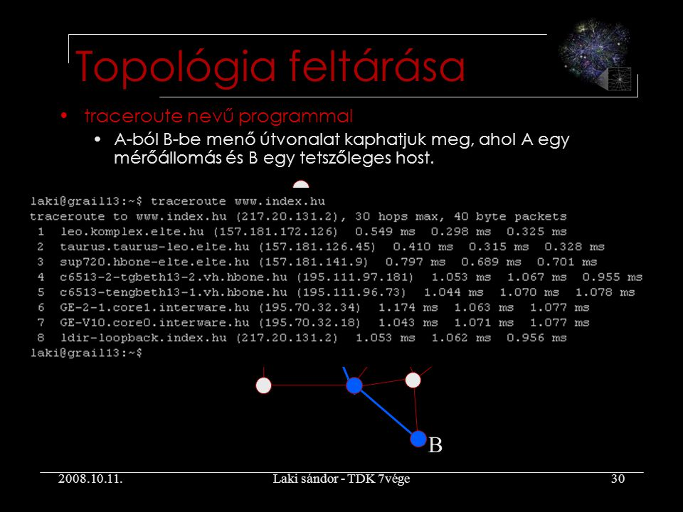 2008.10.11.Laki sándor - TDK 7vége30 Topológia feltárása traceroute nevű programmal A-ból B-be menő útvonalat kaphatjuk meg, ahol A egy mérőállomás és B egy tetszőleges host.