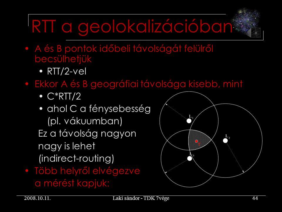 2008.10.11.Laki sándor - TDK 7vége44 A és B pontok időbeli távolságát felülről becsülhetjük RTT/2-vel Ekkor A és B geográfiai távolsága kisebb, mint C*RTT/2 ahol C a fénysebesség (pl.