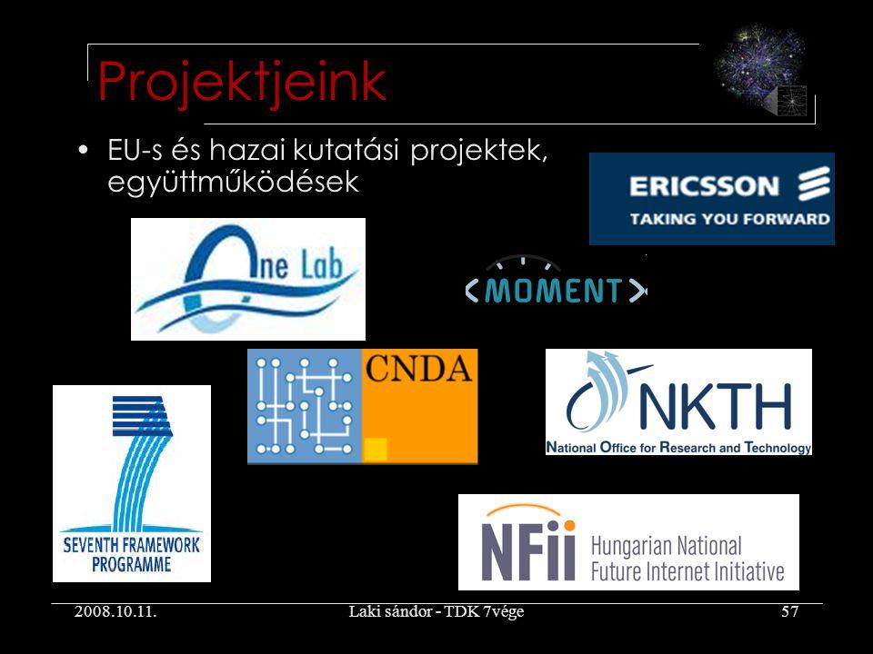 2008.10.11.Laki sándor - TDK 7vége57 EU-s és hazai kutatási projektek, együttműködések Projektjeink