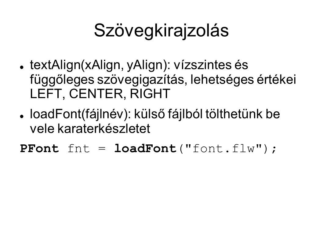 Szövegkirajzolás textAlign(xAlign, yAlign): vízszintes és függőleges szövegigazítás, lehetséges értékei LEFT, CENTER, RIGHT loadFont(fájlnév): külső fájlból tölthetünk be vele karaterkészletet PFont fnt = loadFont( font.flw );