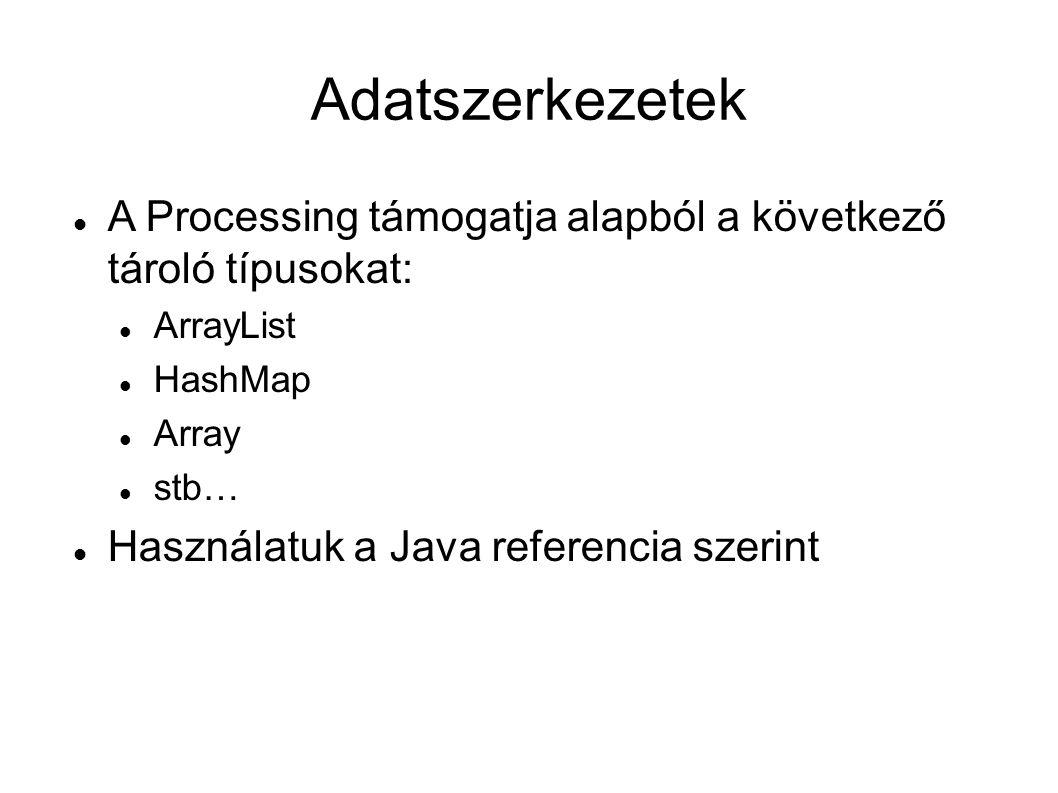 Adatszerkezetek A Processing támogatja alapból a következő tároló típusokat: ArrayList HashMap Array stb… Használatuk a Java referencia szerint