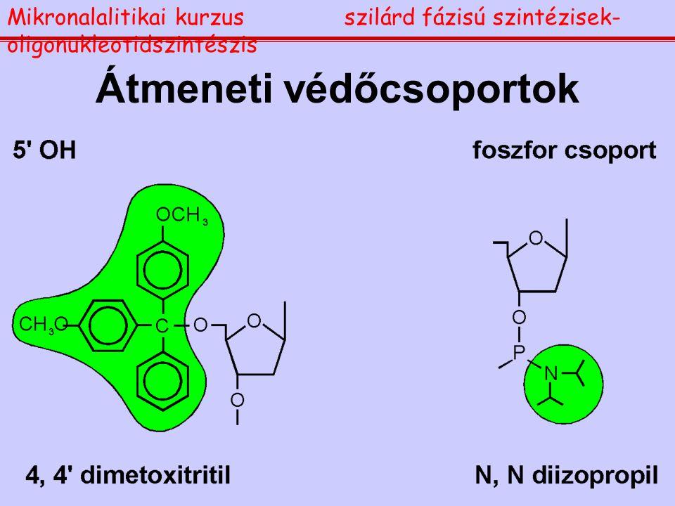 Átmeneti védőcsoportok Mikronalalitikai kurzusszilárd fázisú szintézisek- oligonukleotidszintészis
