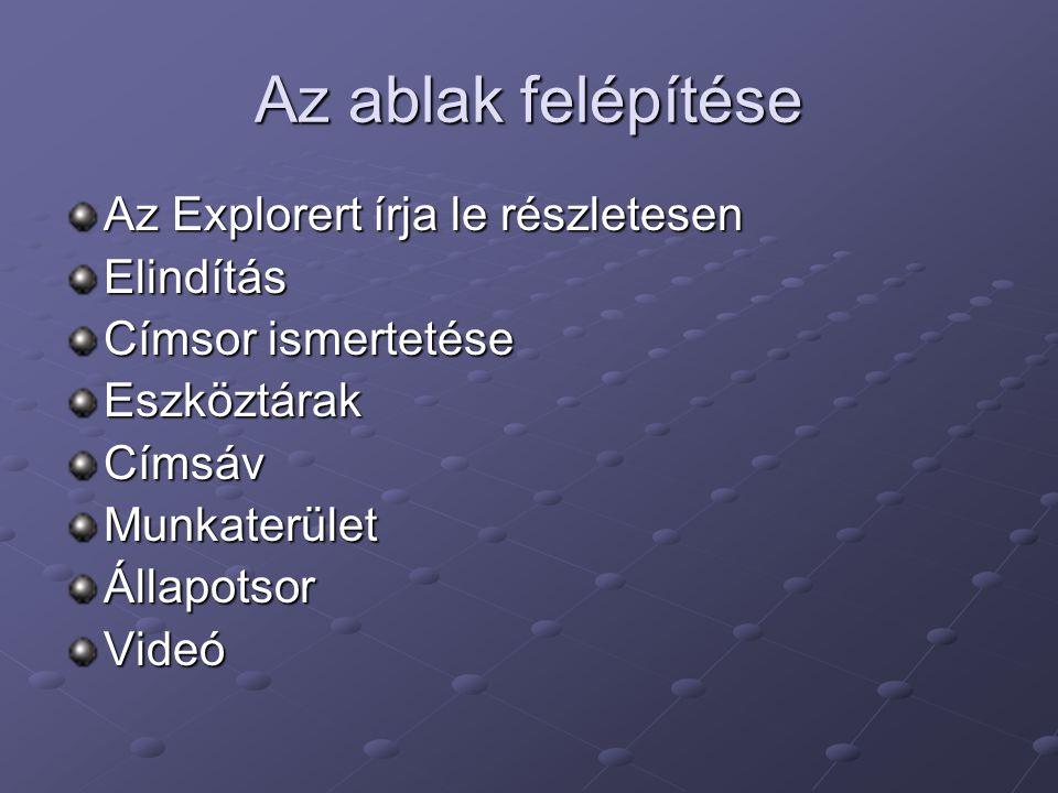Az ablak felépítése Az Explorert írja le részletesen Elindítás Címsor ismertetése EszköztárakCímsávMunkaterületÁllapotsorVideó