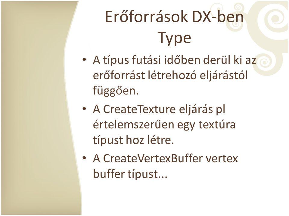 Erőforrások DX-ben Type A típus futási időben derül ki az erőforrást létrehozó eljárástól függően. A CreateTexture eljárás pl értelemszerűen egy textú