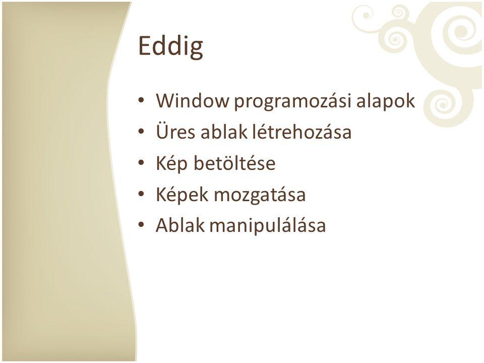 Eddig Window programozási alapok Üres ablak létrehozása Kép betöltése Képek mozgatása Ablak manipulálása