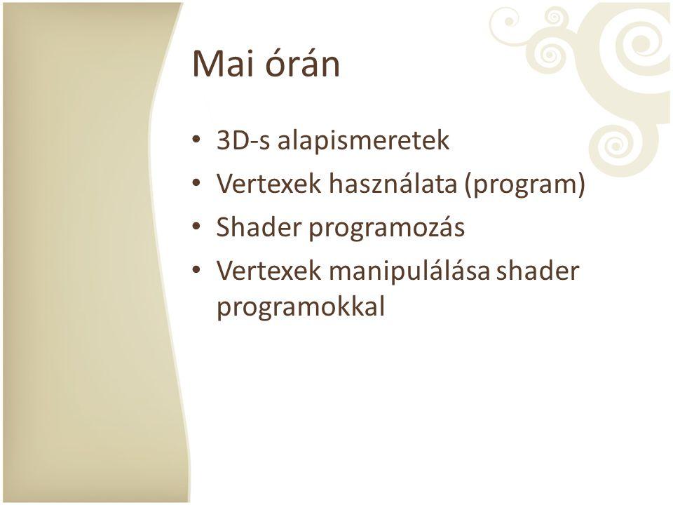 Mai órán 3D-s alapismeretek Vertexek használata (program) Shader programozás Vertexek manipulálása shader programokkal