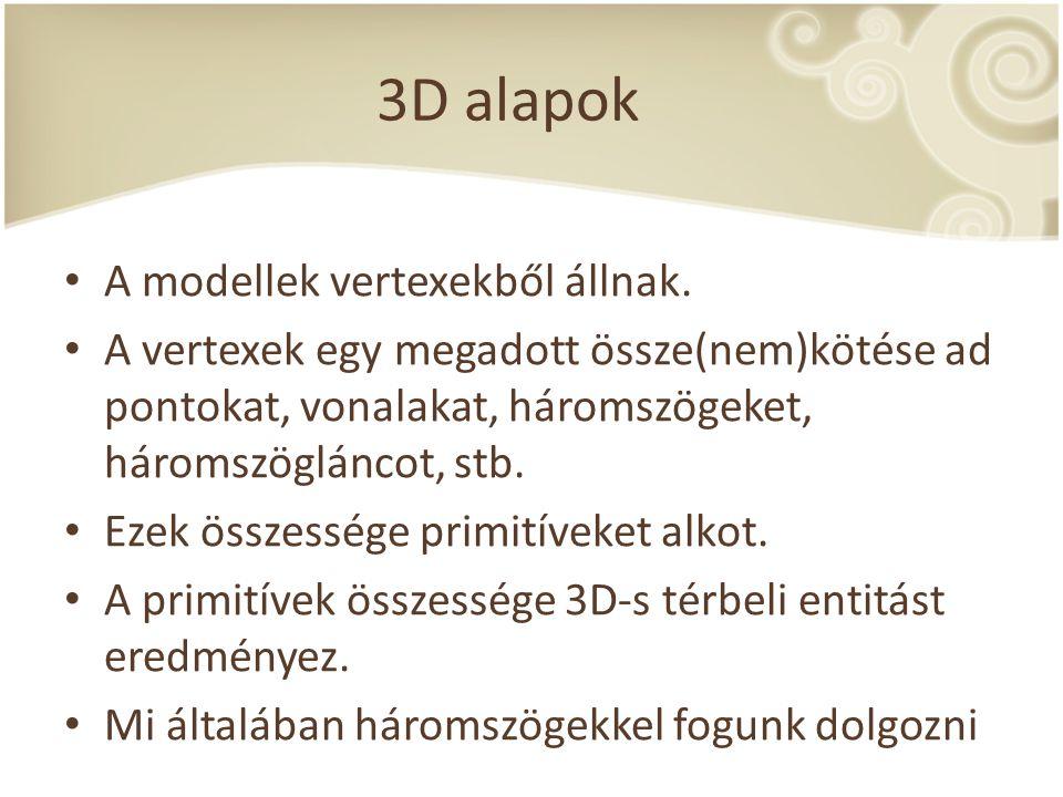 3D alapok A modellek vertexekből állnak. A vertexek egy megadott össze(nem)kötése ad pontokat, vonalakat, háromszögeket, háromszögláncot, stb. Ezek ös