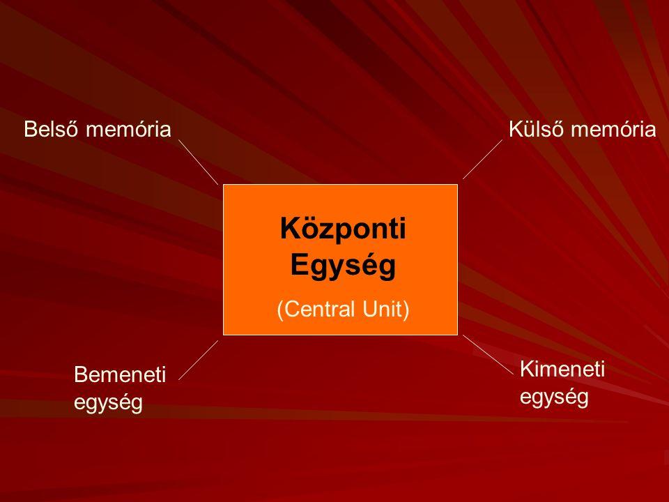Központi Egység (Central Unit) Külső memória Kimeneti egység Bemeneti egység Belső memória