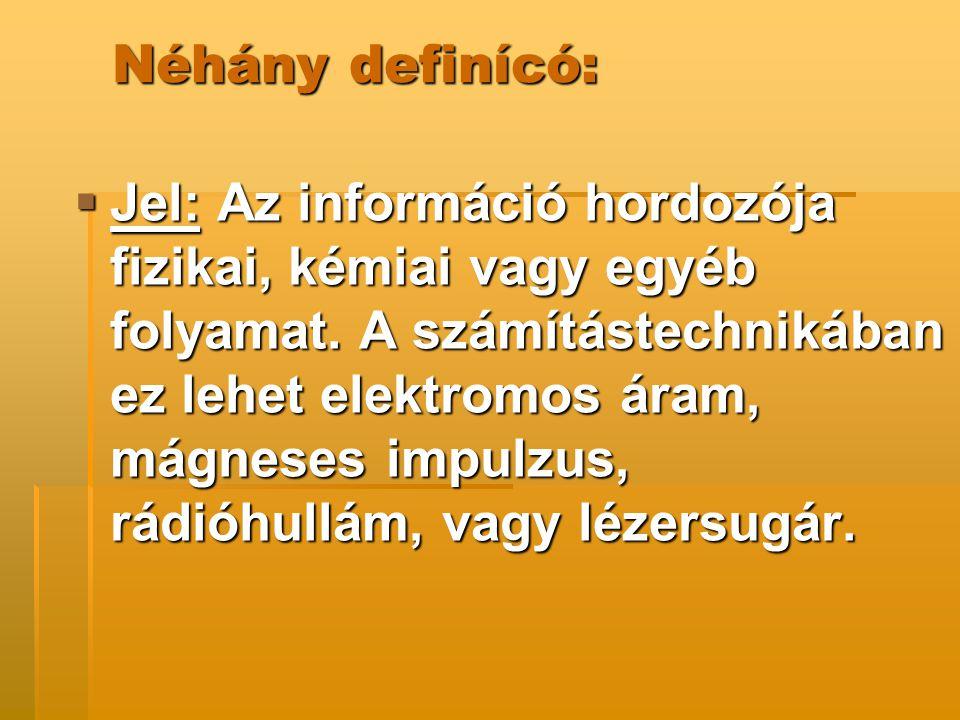  Jelhordozó: Az a fizikai, kémiai vagy egyéb közeg, amelyben az információ továbbítása végbemegy.