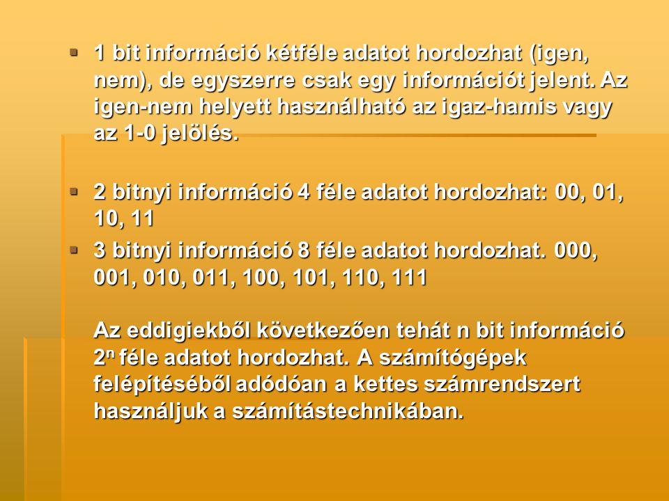 A Bájt:  Nyolcbitnyi információ.