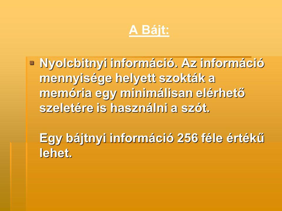A byte nagyobb egységei:  KILOBYTE 1 Kbyte = 1024 byte  MEGABYTE 1 Mbyte = 1024 Kbyte  GIGABYTE 1 Gbyte = 1024 Mbyte  TERABYTE 1 Tbyte = 1024 Gbyte