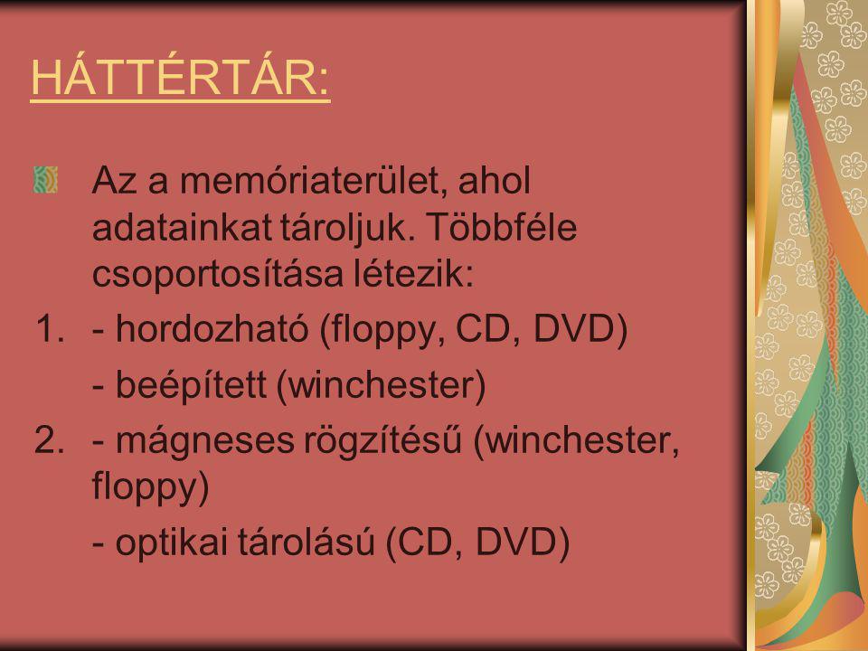 Winchester = merevlemez - Feladata a sokszor használatos programok illetve adatok tárolása.
