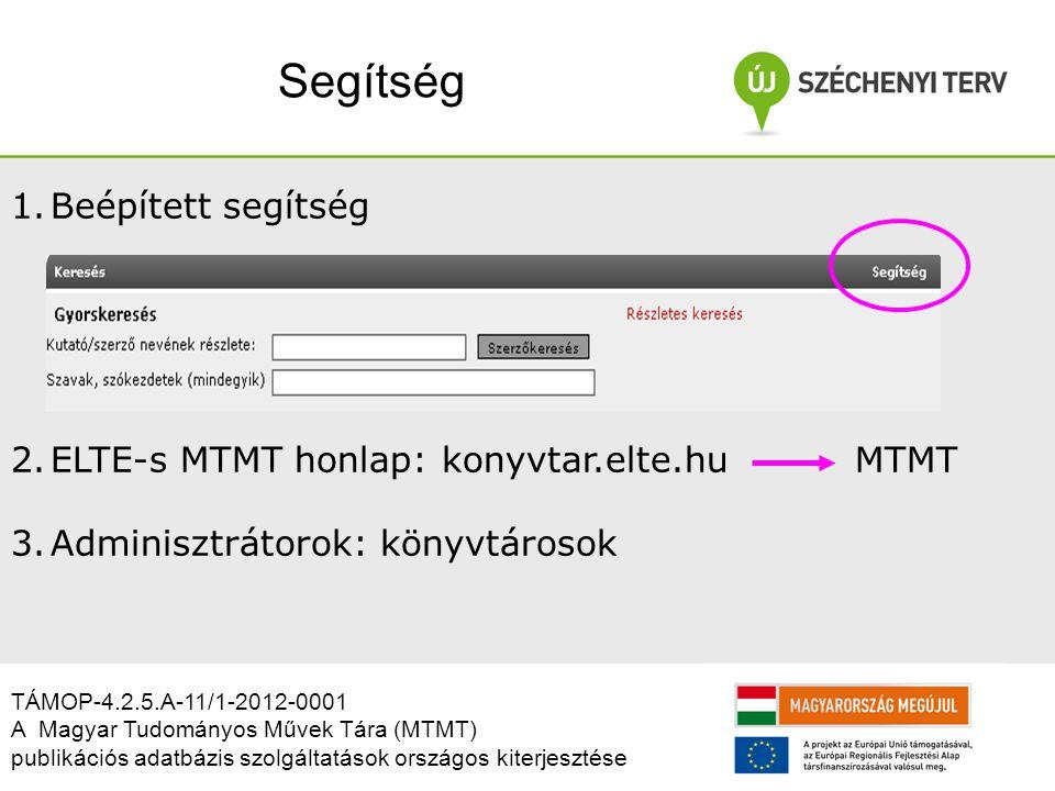 Segítség 1.Beépített segítség 2.ELTE-s MTMT honlap: konyvtar.elte.hu MTMT 3.Adminisztrátorok: könyvtárosok TÁMOP-4.2.5.A-11/1-2012-0001 A Magyar Tudományos Művek Tára (MTMT) publikációs adatbázis szolgáltatások országos kiterjesztése