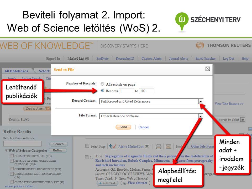 Beviteli folyamat 2. Import: Web of Science letöltés (WoS) 2.