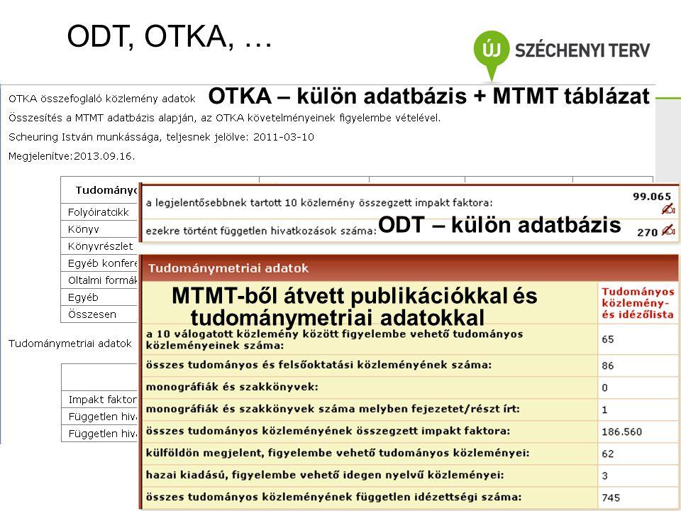 ODT, OTKA, … A projekt az Európai Unió támo- gatásával, az Európai Szociális Alap társfinanszírozásával valósul meg.