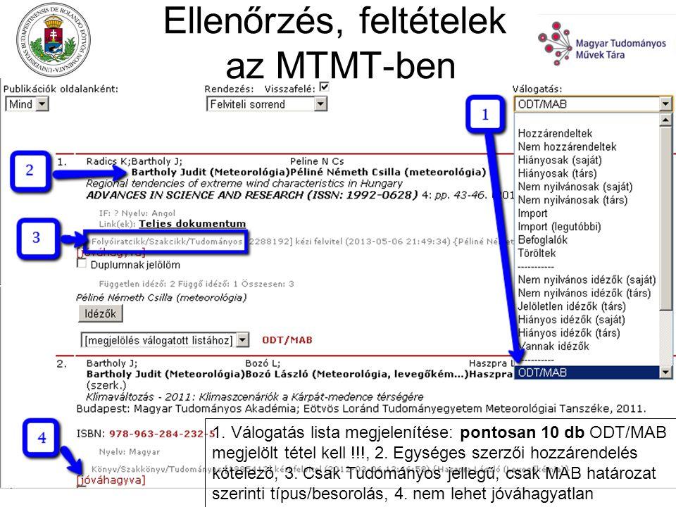 Ellenőrzés, feltételek az MTMT-ben 1.