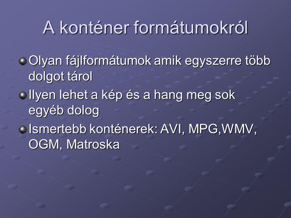 A konténer formátumokról Olyan fájlformátumok amik egyszerre több dolgot tárol Ilyen lehet a kép és a hang meg sok egyéb dolog Ismertebb konténerek: A