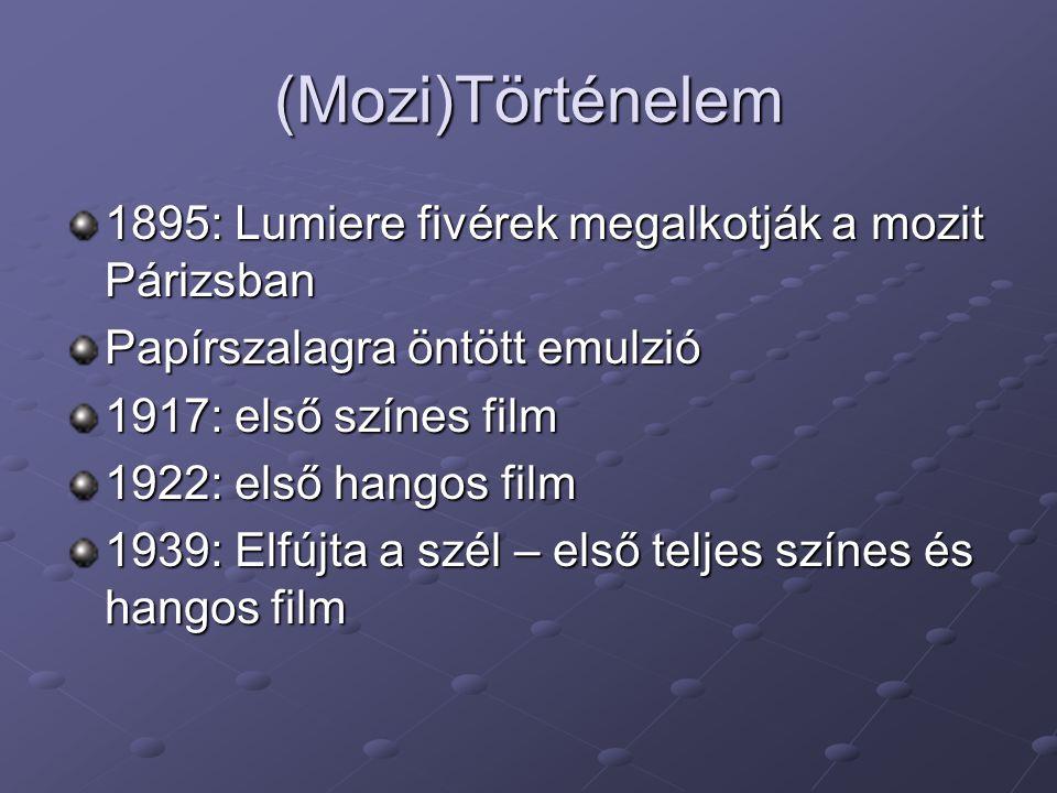 (Mozi)Történelem 1895: Lumiere fivérek megalkotják a mozit Párizsban Papírszalagra öntött emulzió 1917: első színes film 1922: első hangos film 1939: