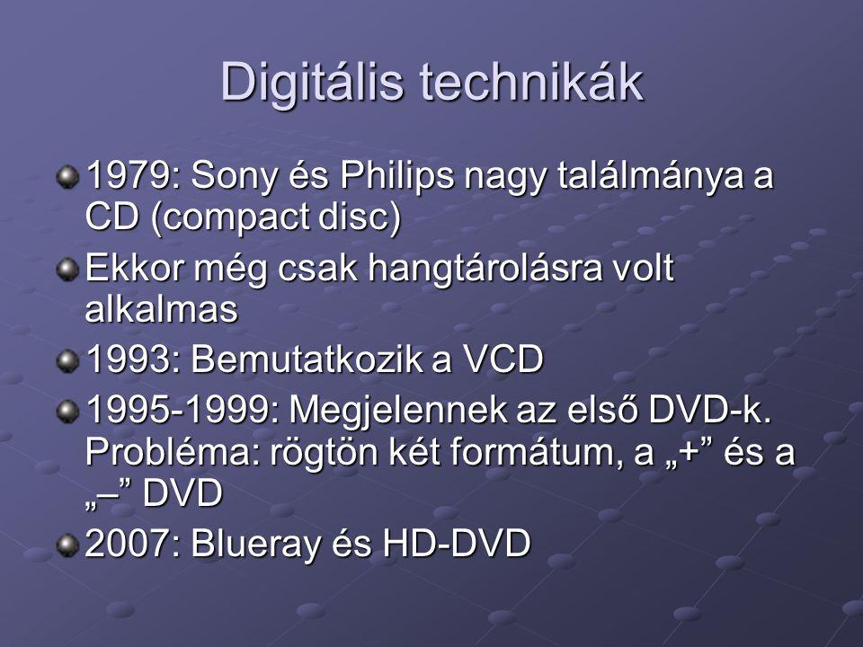 Digitális technikák 1979: Sony és Philips nagy találmánya a CD (compact disc) Ekkor még csak hangtárolásra volt alkalmas 1993: Bemutatkozik a VCD 1995